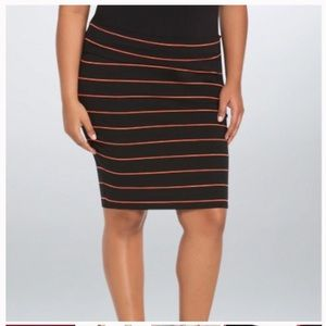 Torrid Foldover knit coral striped pencil skirt 4